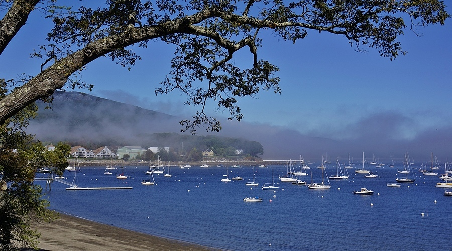 Fog Creeps in to Camden Harbor Maine | LENS MODEL NOT SET <br> Click image for more details, Click <b>X</b> on top right of image to close